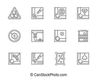 Billiards flat line vector icons set