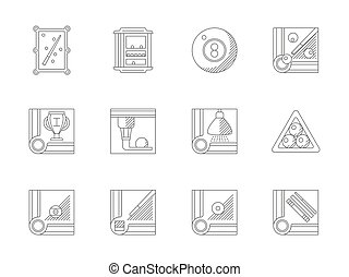 Billiards flat line vector icons set - Symbols for...