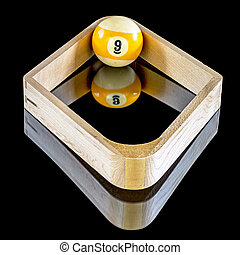 Billiards game of nine ball rack - single nine ball in a...