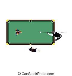 Billiards game table equipment vector.