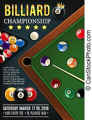 Billiards game table with cue and balls - Pool billiards...
