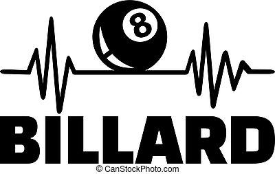 Billiards heartbeat line with billiard ball