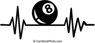 Billiards heartbeat with german word