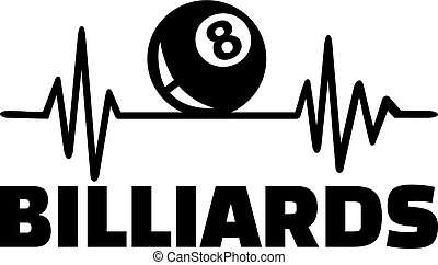 Billiards heartbeat with word