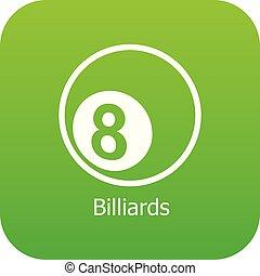 Billiards icon green vector