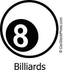 Billiards icon, simple black style