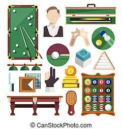 Billiards Icons Flat - Billiards snooker pool game...