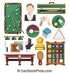 Billiards Icons Flat - Billiards snooker pool game...