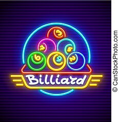 Billiards neon sign with illumination - Billiards. Neon sign...