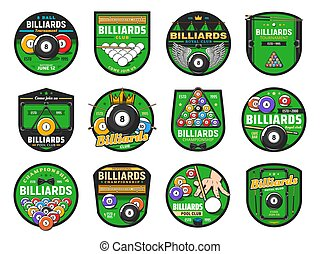 Billiards or pool sport icons, cues, balls, tables