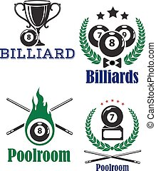 Various billiards or poolroom emblems or symbols on white background woth crossed cues and sport trophy