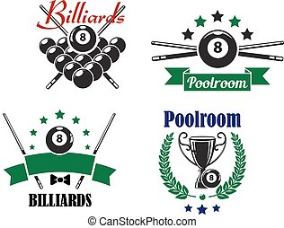 Billiards or Poolroom game badges or emblems with bal, crossed cues, ribbons, banners, wreath and trophy cup, vector illustration on white