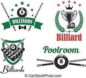 Billiards, snooker and pool game emblems or logo logo with crossed cues, balls, heraldry shield, wreath, sport trophy cup and ribbon banner for sport design