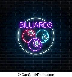 billiards., pelotas, taproom, marco, signboard, bar, style., encendido, billiard, piscina, círculo, símbolo, neón