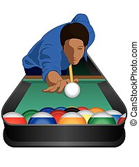 billiards player male on white background