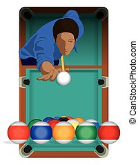billiards player male with billiards table - billiards...