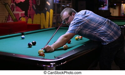 Billiards player pockets any ball in the hole