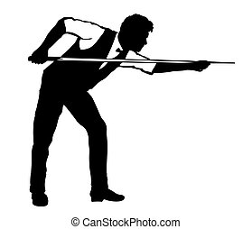 silhouette of billiards player. Black silhouette on white.