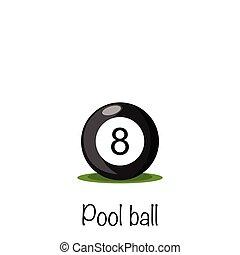 Billiards. Pool #8 black ball, vector illustration