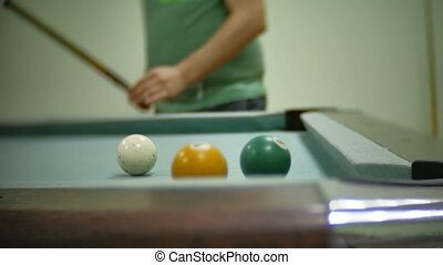 billiards pool 8. old indoors pool billiards hit balls in striped slow motion video