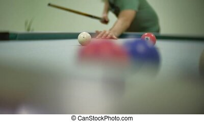 billiards pool 8. old the pool billiards indoors hit balls...