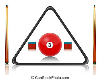 billiards pool - illustration of billiards equipment with ...