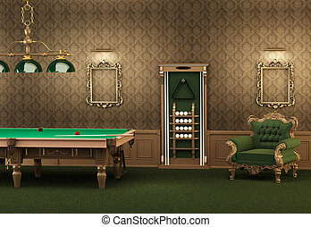 billiards. pool table and furniture in luxurious interior....