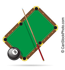 billiards pool table illustration isolated on white...
