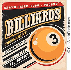 Billiards retro poster design layout - Billiards tournament...