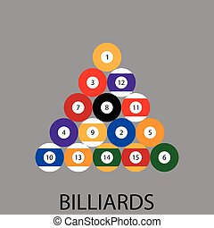 Billiards sport icon flat