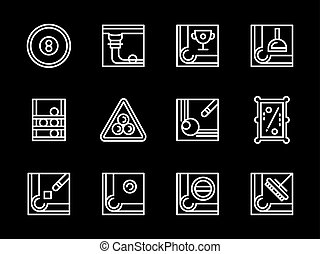 Billiards sport white line vector icons set