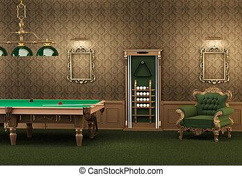 billiards., stanza, parete, poltrona, moderno, lussuoso, stagno, interior., cornici, tavola, vuoto, mobilia