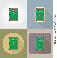 billiards table flat icons vector illustration