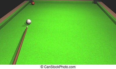 Billiards. The ball rolled into the pocket