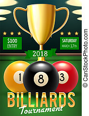 Billiards tournament poster with gold trophy cup - Pool...