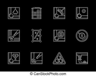 Billiards tournament elements and accessories. Sport and active leisure. Required attributes and equipment of poolroom. Set of white flat line design vector icons on black.
