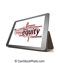 billijkheid, woord, wolk, op, tablet
