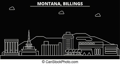 Billings silhouette skyline. USA - Billings vector city, american linear architecture, buildings. Billings travel illustration, outline landmarks. USA flat icon, american line banner