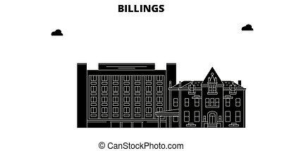 Billings, United States, vector skyline, travel illustration, landmarks, sights.