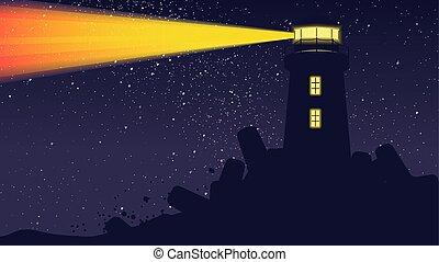 billion, farol, luz, céu, operando, estrelas, noturna