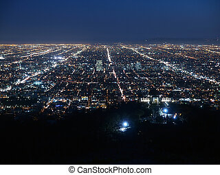 A billion city lights glow brightly in Los Angeles.