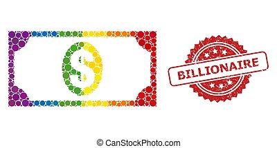 billonario, billete de banco, rasguñado, usd, sello, ...
