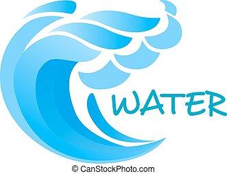 billowing, onda blu, o, surf oceano