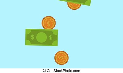 bills and coins rain money animation