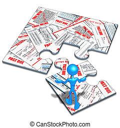 Bills And Debt Concept Puzzle - 3D Concept And Presentation...