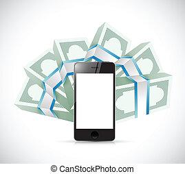 bills around a smartphone illustration design over a white...