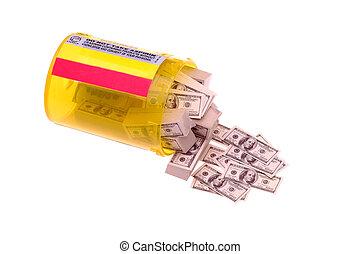 Bills in Prescription Bottle - Hundred Dollar Bills...