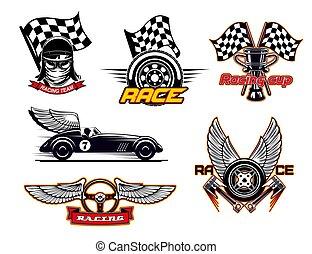 biltävlingar flagga, ikonen, sport, bilar, motor, klubba