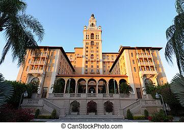 biltmore, coral, hotel, flórida, miami, histórico, gables