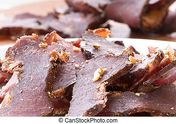 Biltong in South African name, Jerky in American name.